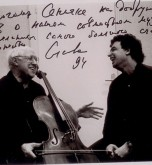 Mstislav with Rostropovich, 1994,  Paris